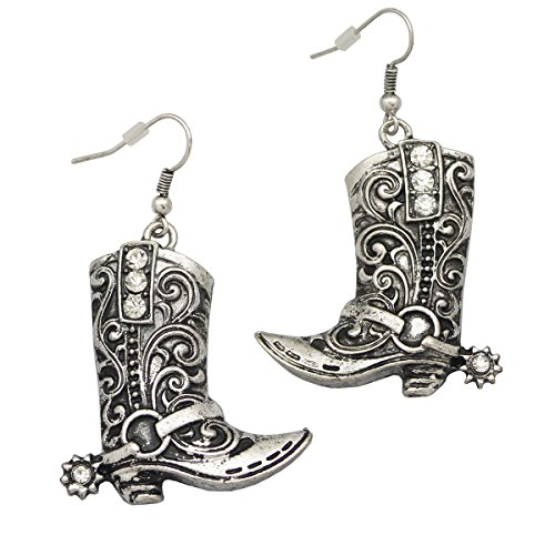 Vintage Silver Tone RechicGu Western Wild West Cowgirl Texas Boots Spur Rodeo Fancy Dress Costume Dangle Earrings (Cowgirl Fancy Dress Costumes)