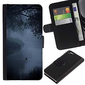 Billetera de Cuero Caso del tirón Titular de la tarjeta Carcasa Funda del zurriago para Apple Iphone 6 4.7 / Business Style Fog Mist Lake Duck Nature Spring