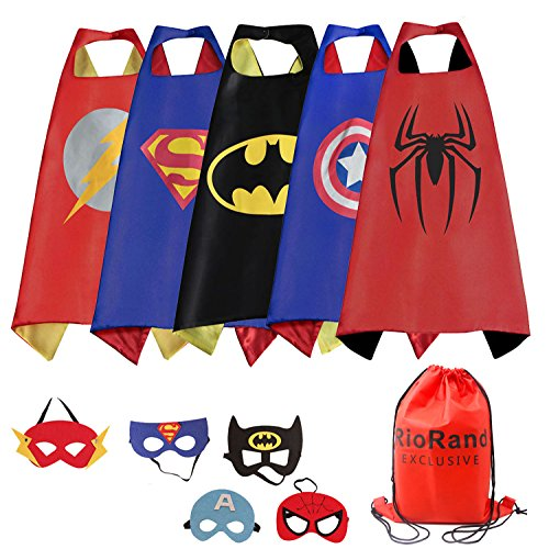RioRand Cartoon Dress up Costumes Satin Capes With Felt Masks For Boys (5PCS Capes) (1 Year Boy Gift)