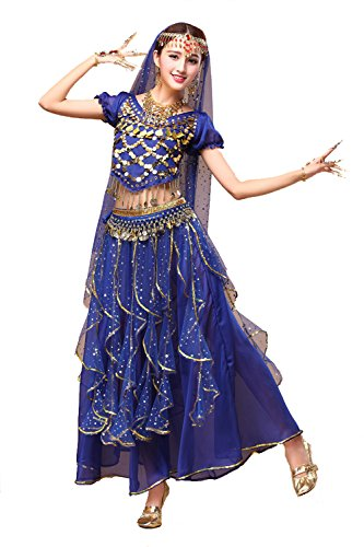 YYCRAFT Women's Halloween Costume Tops Skirt Set with Accessories Belly Dance Performance Outfit-Style B,Royal Blue