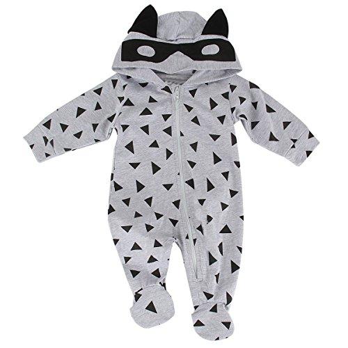 puseky Baby Jungen Mädchen (0-24 Monate) Kapuzenpullover Strampler 3-6 Monate, Grau