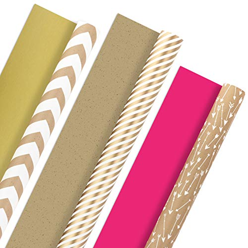 Hallmark Reversible Wrapping Paper, Kraft Gold (Pack of 3, 120 sq. ft. ttl.) for Christmas, Hanukkah, Holidays, Birthdays and More