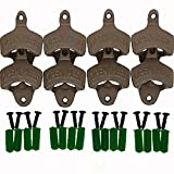 ThreadNanny Set of 8 Open Here Wall Mounted Bottle Openers – Cast Iron Beer Cap Opener Vintage Look Replica Rustic Restaurant & Vintage Iron Home Decor for Home Bartender For Sale