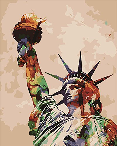 Diy Oil Painting Paint by Number Kit for Adults Beginner 16x20 inch - Colorful Statue of Liberty, Drawing with Brushes Christmas Decor Decorations Gifts (Without Frame)