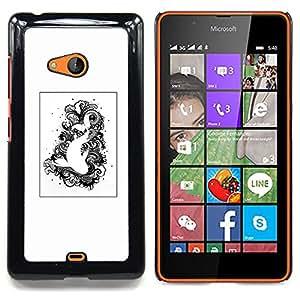 GIFT CHOICE / Teléfono Estuche protector Duro Cáscara Funda Cubierta Caso / Hard Case for Nokia Lumia 540 // Black White Drawing Fish Swimming //