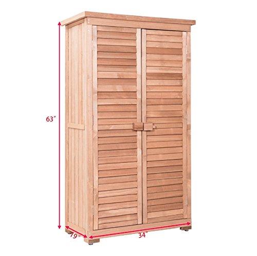 63'' Wooden Double Door Storage Shed Shutter Outdoor Garden Cabinet Fir Wood Construction Waterproof Anti-Corrosion Ventilate Shutters Designed Door Watering Can Hoses Spades Pots Tools Storage