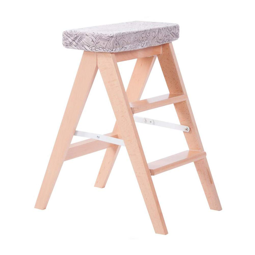 T4 Dall Step Stool Solid Wood 2 Layer Stool Pedal Folding Ladder Stool Multifunctional (color   T5)