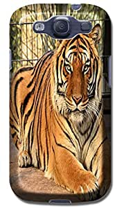 Fantastic Faye Cell Phone Cases For Samsung Galaxy S3 i9300 No.10 The Special Design With Cute Foolishly Gray Pure Tiger On The Water Grass