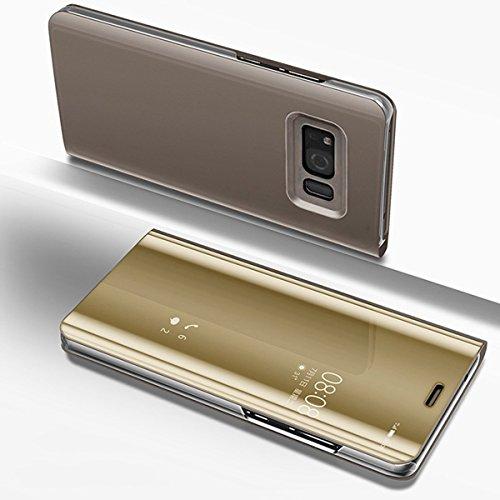 Galaxy S6 Schutzhülle,Galaxy S6 Spiegel Ledertasche Handyhülle,Galaxy S6 Hülle Lederhülle,Hpory Elegante Überzug Mirror PU Leder Slim Fit Wallet Tasche Flip Cover Ledertasche Brieftasche im Bookstyle  Spiegel,gold