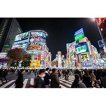 Shibuya Crossing at Night Tokyo Japan Photo Art Print Cool Huge Large Giant Poster Art 54x36