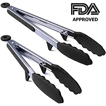 Conlink Kitchen Tongs, Stainless Steel Non-Stick Heavy Duty Cooking Tongs with Silicone Heads and Stands Design for Cooking,Salad,BBQ,Serving,Set of 9, 12 Inch Black