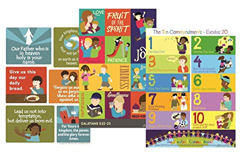 Bible Verses Poster Set - Ten Commandments Lord's Prayer and Fruit of The Spirit- Christian History & Art for Home Church Or Sunday Bible School - Fun Gift Idea for Kids Baby Or Youth Birthday Party