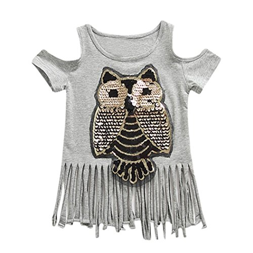 9d1e12baceb24 Amazon.com  Moonker Fashion Kid Toddler Baby Girls Owl Sequined Tassel  Backless Blouse T-Shirt Summer Tops Tees  Clothing
