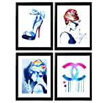 Set of 4 Fashion Art Prints Fashionista Style Icons Salon Decor Pink Audrey Hepburn Highheels