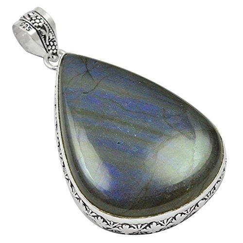 Labradorite Pendant Bracelet - Genuine Labradorite 925 Silver Plated Pendant