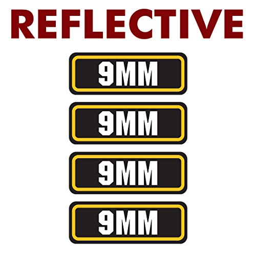 REFLECTIVE 9mm ammo sticker 4 Pack - LAMINATED Can Box Vinyl Decal bullet ARMY Gun safety Hunting label ()