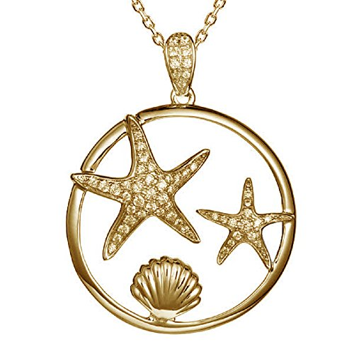 14K Yellow Gold Plated Sterling Silver Pave CZ Starfish & Sunrise Shell Pendant with 18