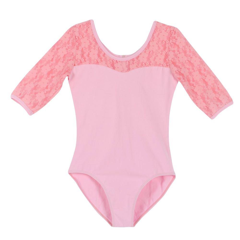 Jlong Girl Kids Half Lace Sleeve Ballet Dance Skirt Dancewear Leotard Dress Tops JL-ZQP00346