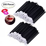 200 Pieces Disposable Lip brushes, Magnolora Makeup Brush Lipstick Lip Gloss Wands Applicator Tool Makeup Beauty Tool Kits, Black