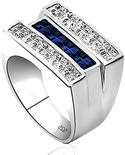 Channel Set Cubic Zirconia Stone (Men's Sterling Silver .925 Triple Row Ring Featuring White and Blue Invisible Channel Set Cubic Zirconia (CZ) Stones, Platinum Plated. Sizes: 8, 9, 10, 11, 12,)