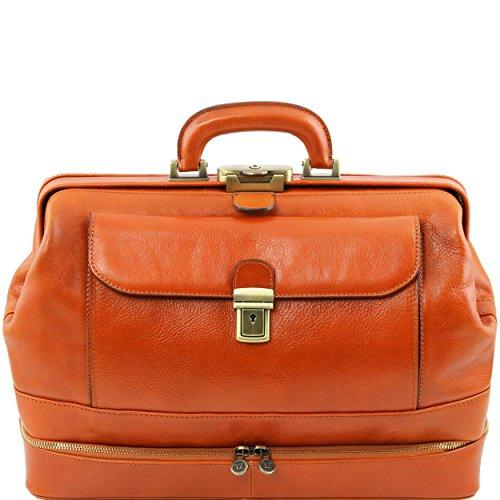 Tuscany Leather - Giotto - Elégante Mallette médecin en cuir à double fond - Miel