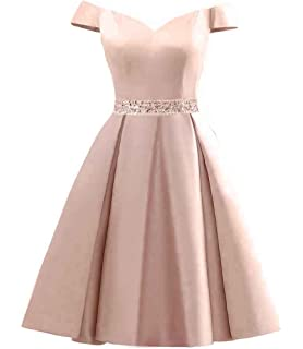 Changuan Womens Short Beaded Prom Dresses Off The Shoulder Backless Homecoming Dress