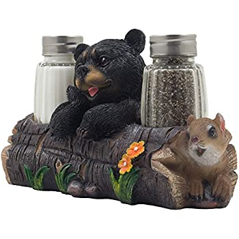 Decorative Black Bear And Squirrel Friend On Log Salt U0026 Pepper Shaker Set  Figurine Display Stand