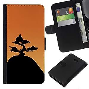 NEECELL GIFT forCITY // Billetera de cuero Caso Cubierta de protección Carcasa / Leather Wallet Case for Sony Xperia M2 // Montaña Bonsai