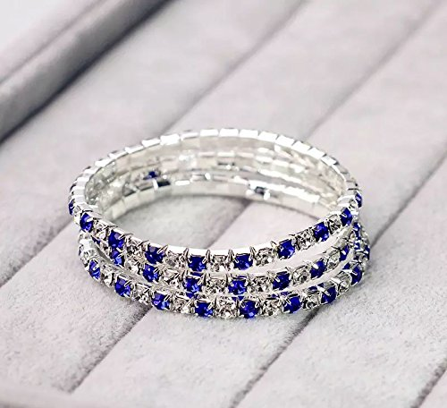 3PC, Single Row of Crystals, Bridal Wedding Bracelet, 925 Sterling Silver, Cobalt Blue And White Bracelet, Crystal Rhinestone, Tennis Bracelet Très Chic TC0011