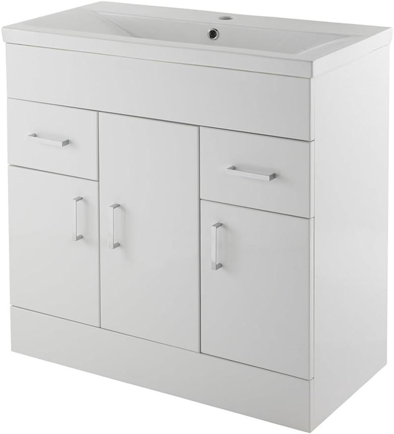 Home Standard Ice Cube White Gloss 800mm Bathroom Floorstanding Vanity Unit & Mid-Edge Basin
