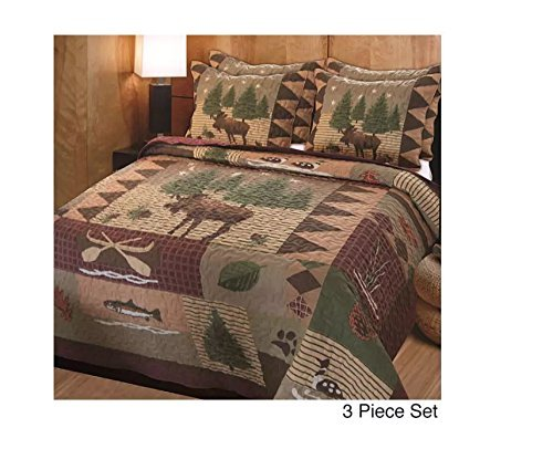 3pc Brown Full Queen Size Animal Patchwork Quilt Set, Polyester, Rustic Cabin Theme Moose Forest Lake House Cottage Bear Rectangle Square Evergreen Tree, Cotton, Microfiber, Synthetic Fiber