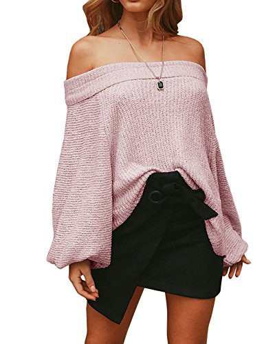 Imily Bela Womens Oversized Off Shoulder Sweater Casual Batwing Sleeve Blouse Jumper (Large, Pink)