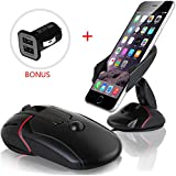 Car Mount, Yukiss Easy One Touch Cell Phone Mount + Dual USB 2.1A Charger Bonus, Foldable Mobile Phone Car Mount and Smartphone Car Holder for iPhone 6s Plus 6s 5s Samsung Galaxy S7 Edge S6 S5 Note 5