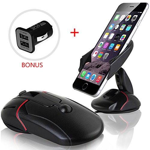 Car Mount, Yukiss¨ Easy One Touch Cell Phone Mount + Dual USB 2.1A Charger Bonus, Foldable Mobile Phone Car Mount