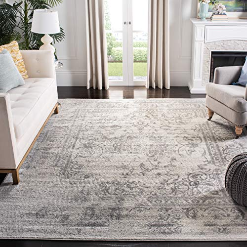 Safavieh ADR101B-1115 Adirondack Collection ADR101B Oriental Vintage Distressed Area Rug, 11' x 15', Ivory/Silver