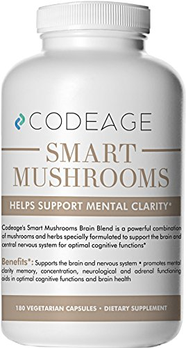 Smart Mushrooms – 180 Count – Organic Lions Mane, Cordyceps, Reishi – Immune System Booster & Nootropic Brain Supplement – Wellness Formula for Natural Energy, Stress Relief, Memory & Liver Support For Sale