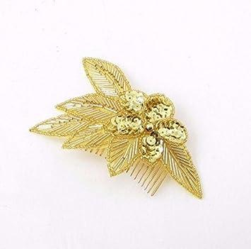Brautschmuck haare blumen perlen  Starcrossed Boutique Gold Pailletten Haar Kamm Brautjungfer Blumen ...