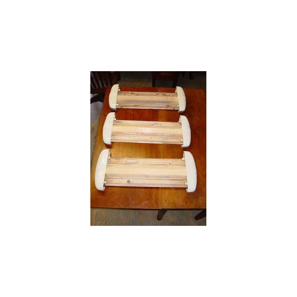 Set of 3 Gill Glass & Fixture Co Art Deco Milk Glass Lighting Fixtures