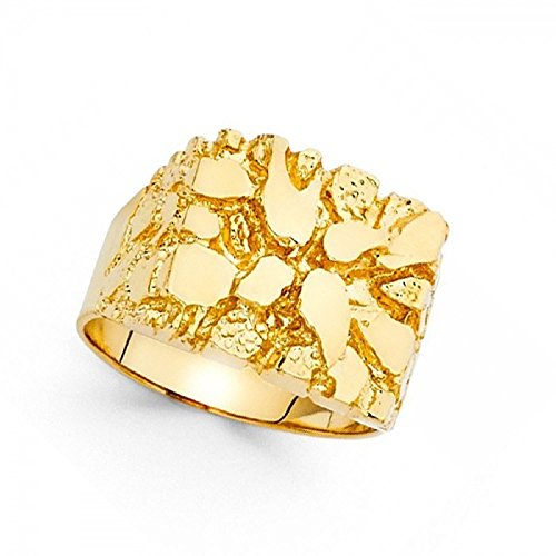 - Mens Nugget Ring Solid 14k Yellow Gold Textured Band Diamond Cut Genuine Heavy 15MM Size 10
