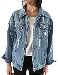 Oversized Womens Jean Jackets, Boyfriend Ripped Long Sleeves Denim Jackets with Pockets