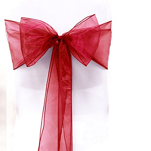 SARVAM FASHION SF New Pack of 100 Chair Decorative Organza Sashes Bow Designed for Wedding Events Banquet Home Kitchen Decoration - (100, Apple Red)