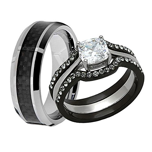 (FlameReflection Couple Ring Bridal Set His and Hers Wedding Ring Set Black Stainless Steel Cushion CZ Wedding Ring & Tungsten Men's Black Carbon Fiber Stripe Men's Wedding Engagement Band)