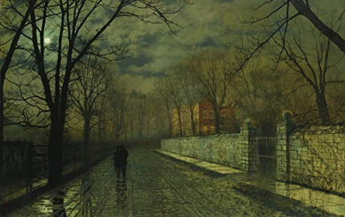 - John Atkinson Grimshaw - Figures in a Moonlit Lane After Rain, Size 22x36 inch, Gallery Wrapped Canvas Art Print Wall décor