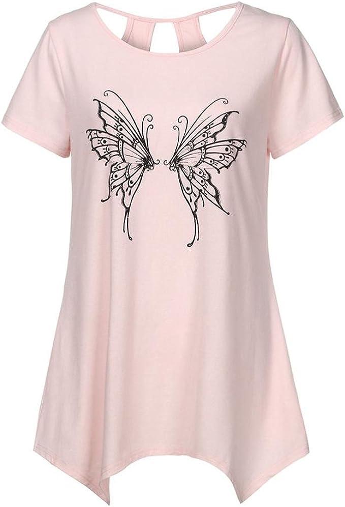 Longra Rosa T Shirt a Maniche Corte per Donna con Stampa