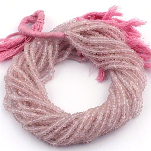 Rose Quartz Facet Rondelle Beads - 5 strands Finest Quality Rose Quartz Facet Rondelles- Rose Quartz l Roundelle 3mm-4mm 13 inch strand ISR-067