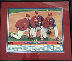 1994 Phillies Schedule Autographed by Darren Daulton, Lenny Dykstra and Curt Schilling Framed