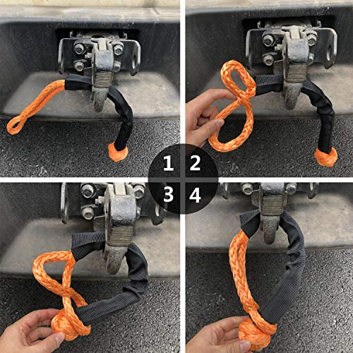 1//2 Synthetic Soft Shackle Rope with Protective Sleeve for 4X4 Truck ATV UTV 2PCs, Orange 35,000lbs Breaking Strength, WLL 15,000 lbs
