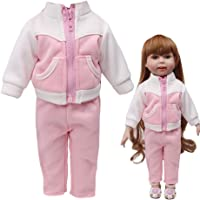 Classic Fashion Sportswear Uniforms Set For 18 Inch American Little Girl Doll Clothes Accessory Girl's Toy (Pink + White)