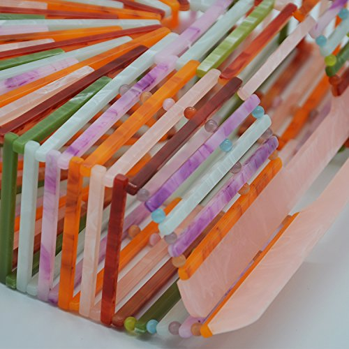 Womens Ark Handmade Rainbow Acrylic Handbag Miuco Clutch Purse CxZRH1Zqw