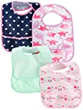 Simple Joys by Carter's Baby Girls' 4-Pack Feeder Bibs, Dino/Owls/Mint/Navy Hearts, One Size